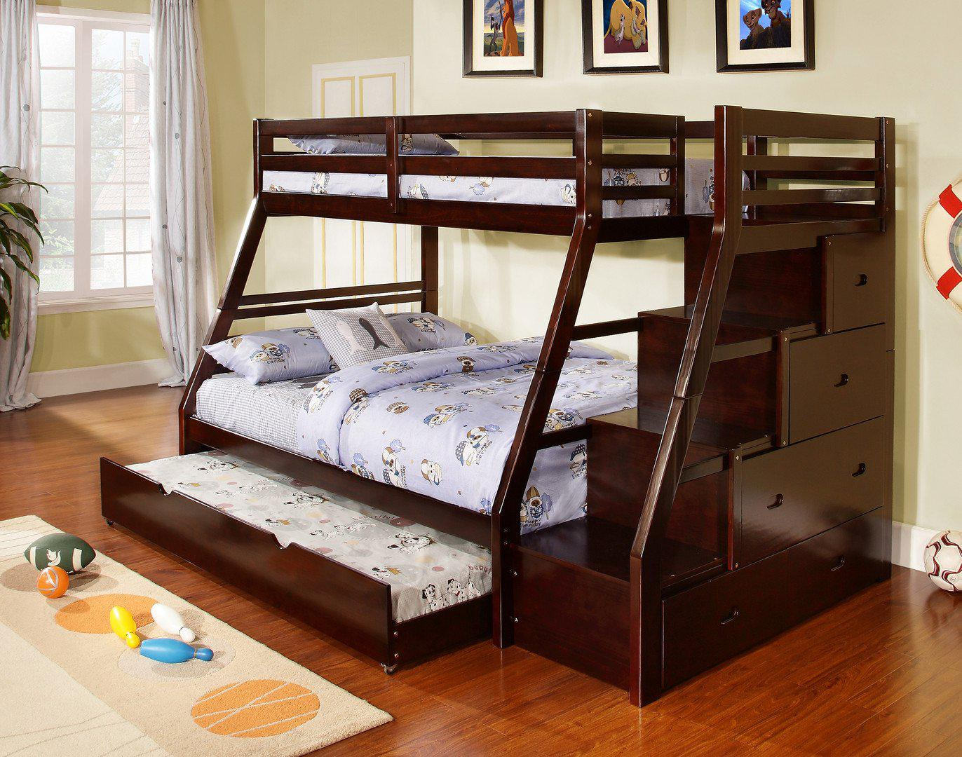 Image of Twin over Full Staircase Bunk Bed with Trundle