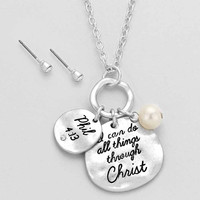 """""""I can Do All Things Through Jesus Christ"""" Silver Necklace"""