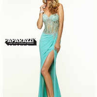 Sweetheart Sheer And Beaded With High Slit Paparazzi Prom Dress By Mori Lee 97020