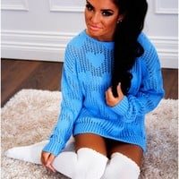 Innocence Blue Heart Mesh Knitted Jumper | Pink Boutique