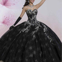 Luxury Princess Black Quinceanera Dresses 2016 Puffy Sweet 16 Ball Gowns Floor Length Embroidery Debutante Gown For 15 Years