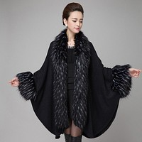 womens fall fashion cape poncho Shawl Batwing Sleeve Warm Fashion faux fur cardigan
