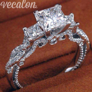 Vecalon Romantic Vintage Female ring Three-stone Simulated diamond Cz 925 Sterling Silver Engagement wedding Band ring for women