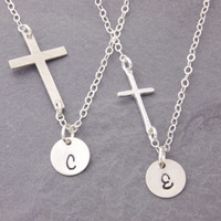 Mother Daughter Necklace, silver cross necklace, religious necklace, initial necklace, personalized, pair necklace, matching necklace, N10