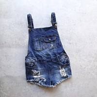 Distressed Denim Overall Shorts in Medium Wash