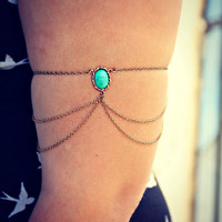 turquoise/green armlet, upper arm chain, body chain, unique jewelry, turquoise jewelry