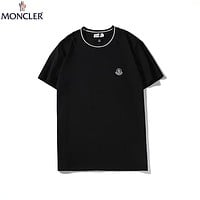 Moncler 2019 new trend chest small logo simple wild round neck half sleeve t-shirt Black