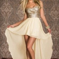 Strapless Bust Embellished Asymmetrical Dress