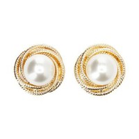 Gold Pearl Knot Stud Earrings by Charlotte Russe