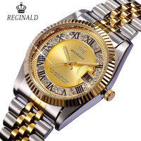 REGINALD Golden Lovers' Watch Date Crystal Styles  Dress Quartz Watch