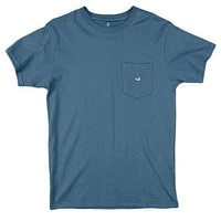 Embroidered Pocket Tee in Slate w/ Chill Blue by Southern Marsh