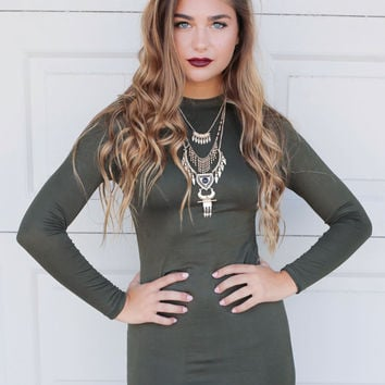 Poetic Beauty Olive Long Sleeve Bodycon Dress