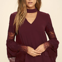 Step and Repeat Burgundy Lace Long Sleeve Top
