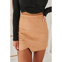 Headed To Happy Hour Faux Suede Mini Skirt (Mocha)