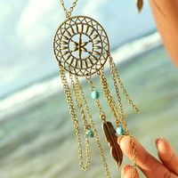 Dreamcatcher Floral  Disk Necklace Boho Bohemian Hipster Turquoise Bead Bronze Chain Jewelry