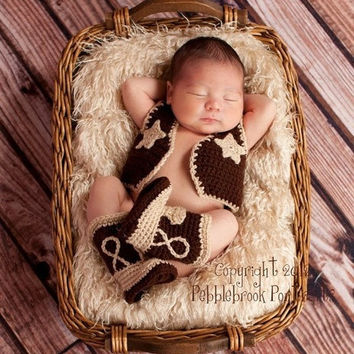 New baby clothing cowboy Knitting Handmade infant hat baby Knit crochet set  vest and shoes newborn photography props outfit 0-12month = 1958231172