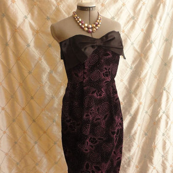 ON SALE 80s Dress // 80s Prom Dress // Vintage 1980s Purple and Black Velvet and Satin Strapless Party Dress by Roberta Size XS