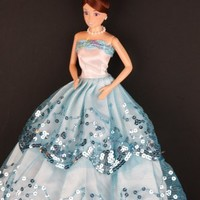 Blue Ball Gown with Light Blue Sequined Lace Details Made to Fit Barbie Doll