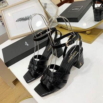 ysl women casual shoes boots fashionable casual leather women heels sandal shoes 235