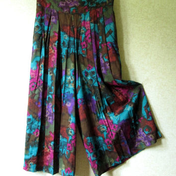 Palazzo Pants Gaucho Culottes high waisted floral skirt midi length boho gypsy clothing purple fuchsia teal vintage 80s women medium