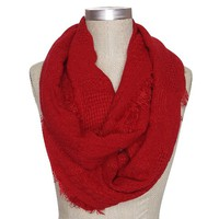 Women's Solid Woven Infinity Scarf