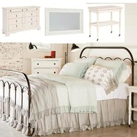 Magnolia Home Primitive Queen 4-Piece Metal Bedroom Set in Blackened Bronze and Jo's White