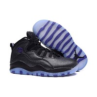 Air Jordan 10 Retro AJ10 Black Purple Women Basketball Shoes Size US 5.5-8.5