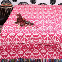 Kantha Ikat Quilt, indian Queen size kantha ,Throw Kantha Bedspread handmade, Kantha Quilt, Indian Throw Bedding Reversible BedSpread