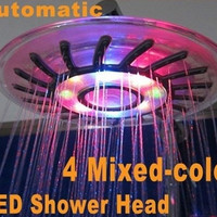 HEXIN 4 Mixed-color LED Shower Head Bathroom Sprinkler Romantic Automatic Control Ducha Rain Showers Heads Base Power Douche Set = 1697108996