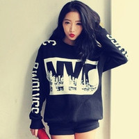 New Korea Stylenanda Autumn/Winter NYC Letters Printed Decorative Vintage Long Sleeve = 1714515652