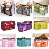 Cosmetic Bag in Bag,Double Zipper Portable Multifunctional Travel Pockets Handbag Storage Bag,Fadish Travel Organizer Makeup Bag