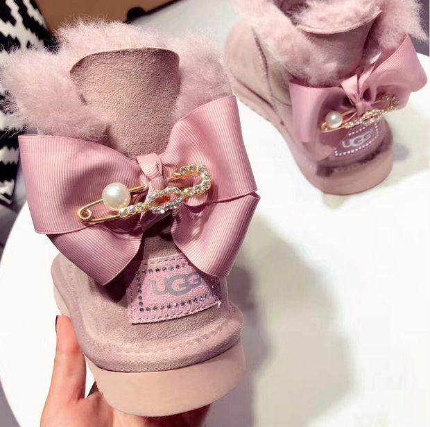 Image of x1love  UGG : girl Large bow tie Keep warm Snow boots