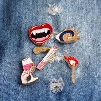 Trendy creative Vampire Girl Lips Red Wine Matches Cigarette Brooch Button Pins Denim Jacket Pin Badge Cartoon Fashion  Gift AT_94_13