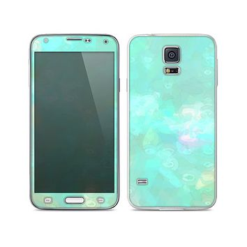 The Bright Teal WaterColor Panel Skin For the Samsung Galaxy S5