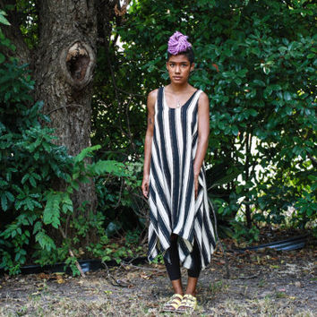 Striped Drape Maxi Tunic | Crafts & Arts | Spring | Summer | One-of-a-Kind