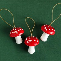 Mushroom Ornaments - Red Toadstool Christmas Decorations