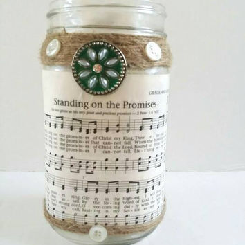 Quart Mason Jar Candle Holder, Hymnal Sheet Music Candle Jar, Rustic Altered Candle Mason Jar, Embellished Jar, Decorated Jar, Home Decor