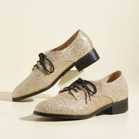 Trademark Sparkle Flat in Gold | Mod Retro Vintage Flats | ModCloth.com