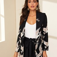 Shawl Collar Blazer and Paperbag Waist Belted Shorts Set