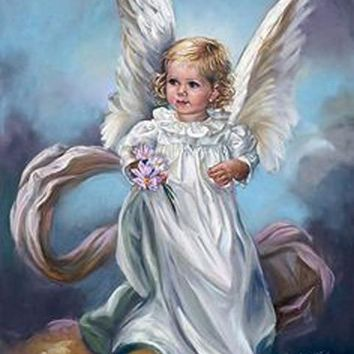 5D Diamond Painting Little Angel Girl with Flowers Kit