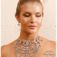 Bridal choker bib statement necklace earrings, vintage inspired Victorian crystal choker necklace, wedding jewelry set