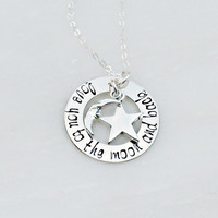 Hand Stamped Jewelry - Moon and Back Necklace - Sterling Silver Necklace - Mommy Necklace