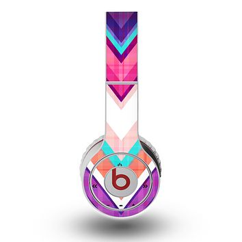 The Vibrant Teal & Colored Chevron Pattern V1 Skin for the Original Beats by Dre Wireless Headphones