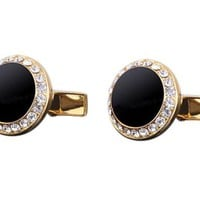 Round Black Gem Cufflink on Gold Setting