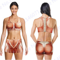 Sexy Muscular Sports Bras Red Muscle Printed Fitness Gym Workout Clothing Women Running Shorts Racerback Tracksuit Summer Outfit