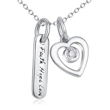Faith Hope Love &Heart Pendant 925 Silver Necklace
