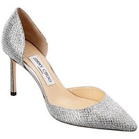 Jimmy Choo Esther 85 Glitter Fabric D'Orsay Pump, 39.5, Metallic