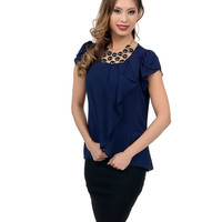 Navy Blue Ruffled Wrap Tulip Blouse