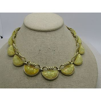 "Vintage Coro Yellow Confetti Necklace, 16"", Gold Tone, 1960's"