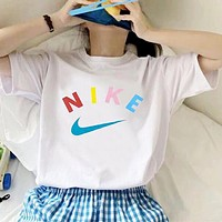 Nike new men's and women's letter printed stretch half-sleeved T-shirt